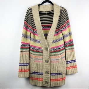 Free People Chunky Oversized Striped Cardigan M